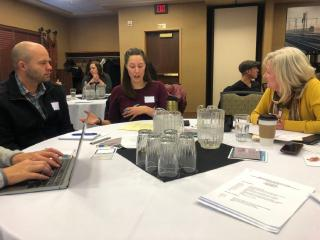 Reporters and editors representing the Billings Gazette, Sidney Herald, Northern Plains Independent, and Missoulian share ideas at a convention of news partners in Helena Nov. 1, 2019.