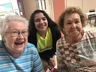 L to R: Linda Haverty, Kendra Gonzales and Mary Frame. Elderly adults feel they are treated with respect and teens feel they are making a difference.